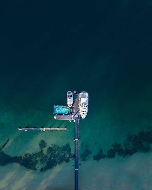 Drie Motorboten Naast Sea Dock