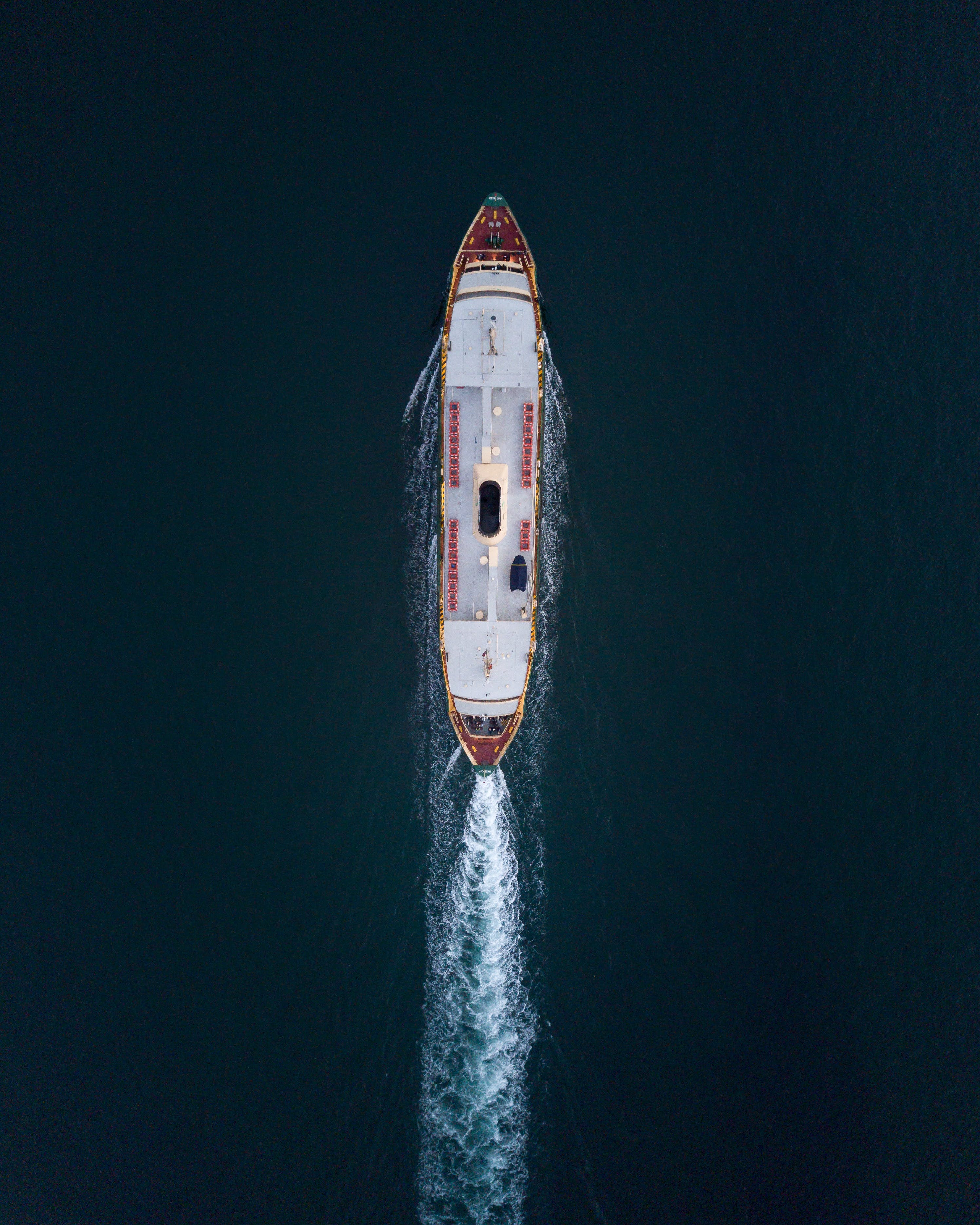 Aerial View of Ship on Body of Water
