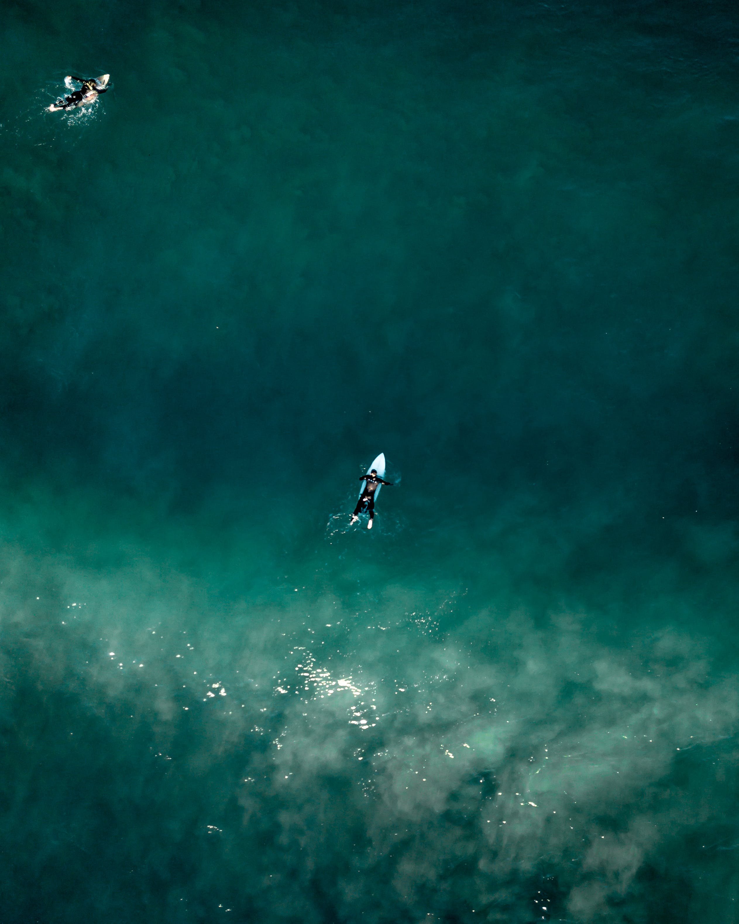Aerial Photo of People Surfing