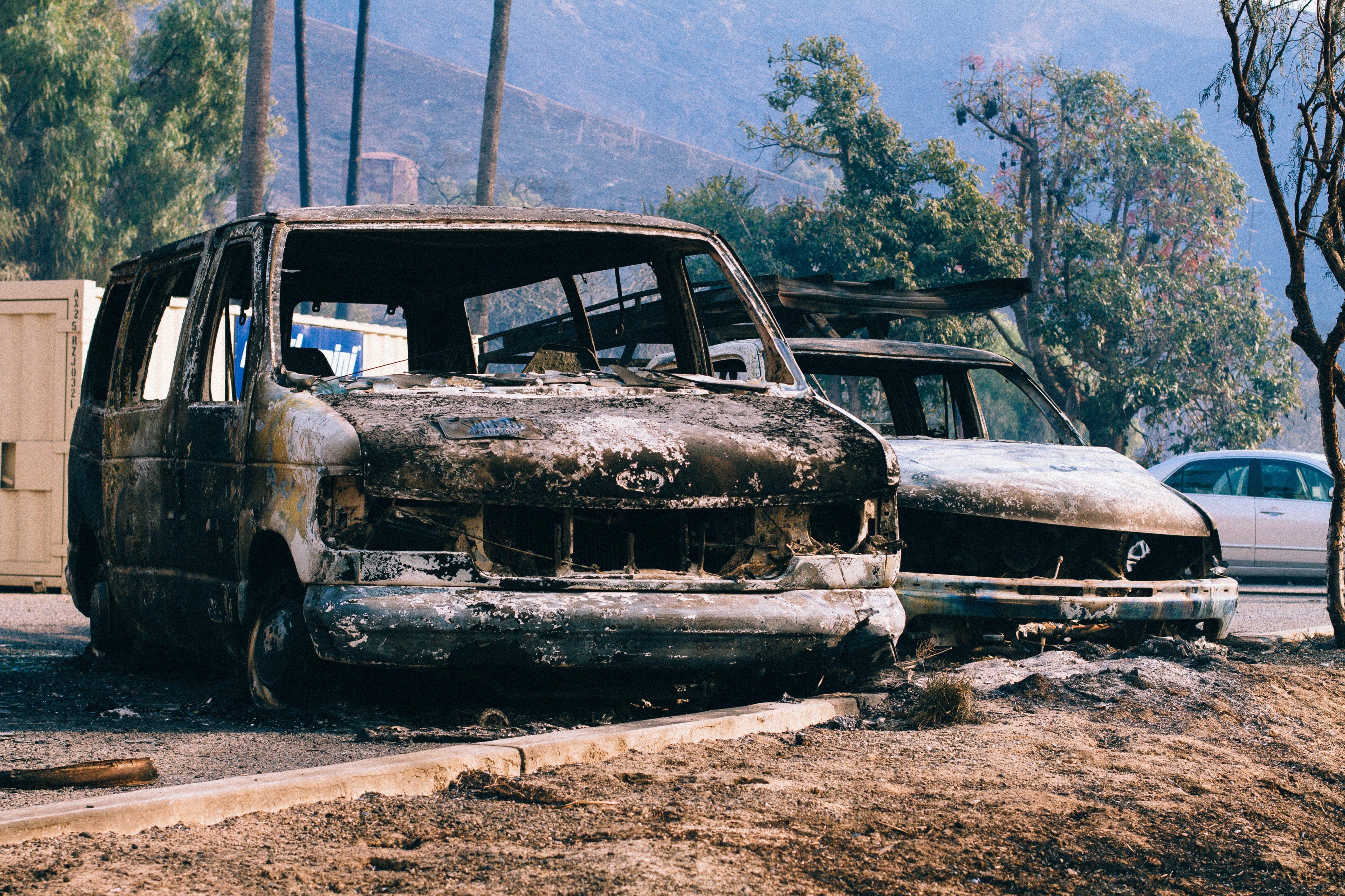 Free stock photo of burned, burned van, california, disaster