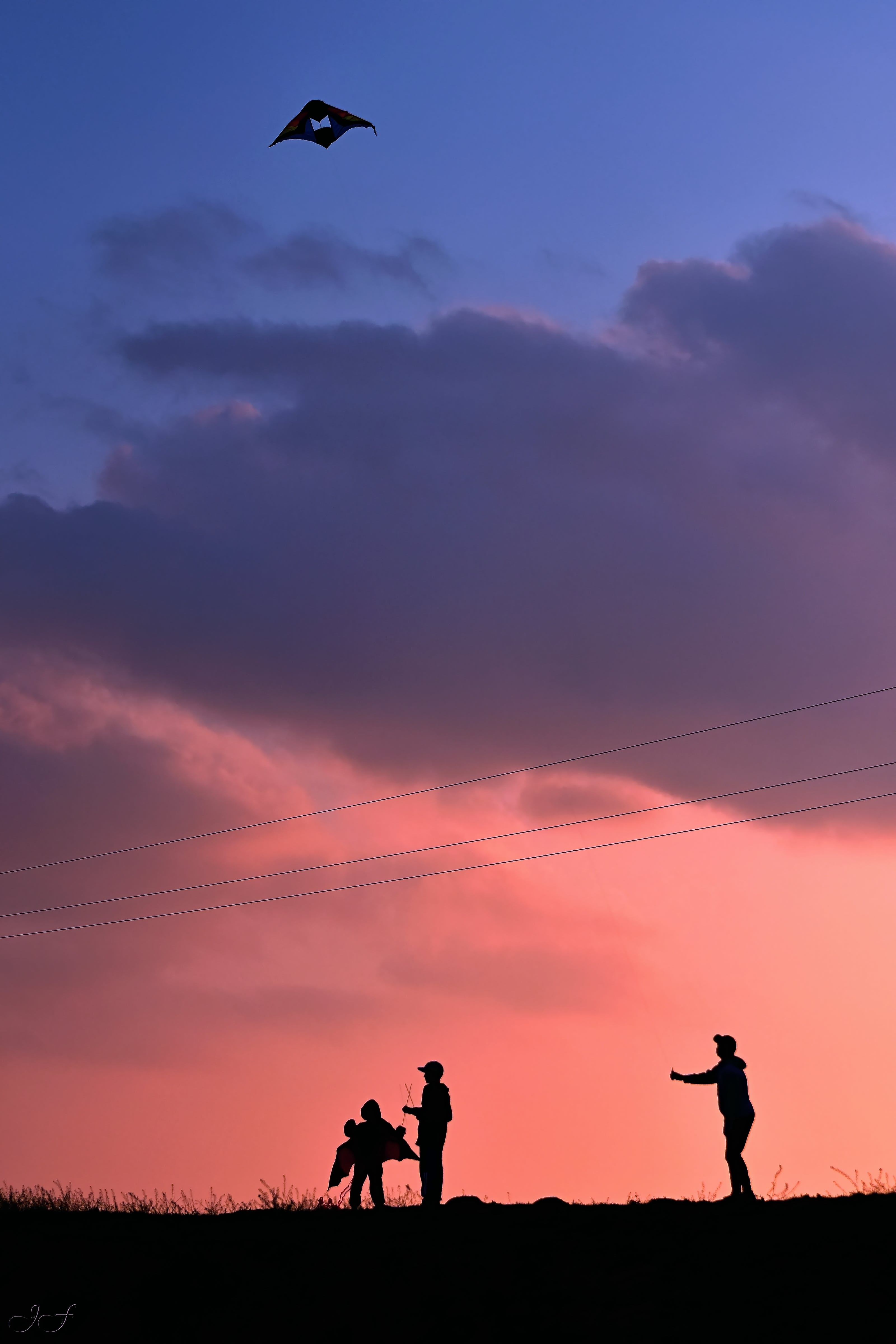 Silhouette Of People Flying A Kite During Golden Hour