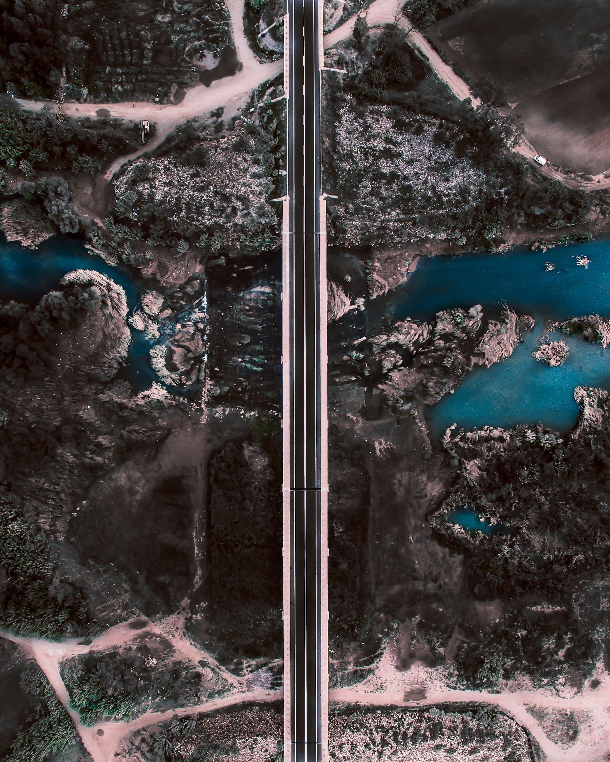 Foto stok gratis air, fotografi drone, jalan, jembatan