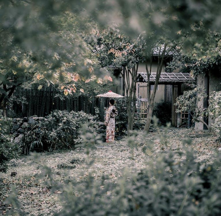 Woman Standing Near Plants