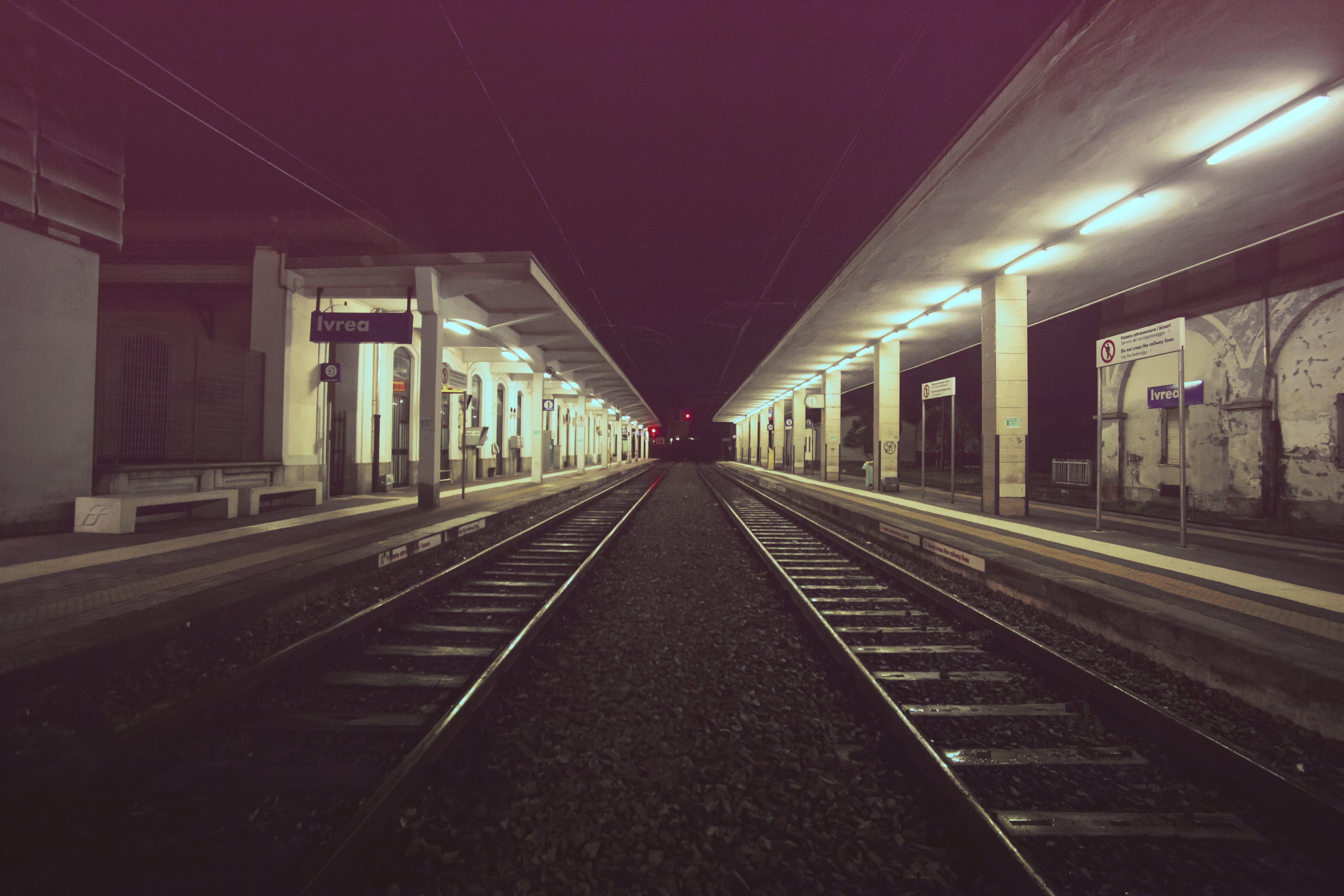 Black Train Railways at Night