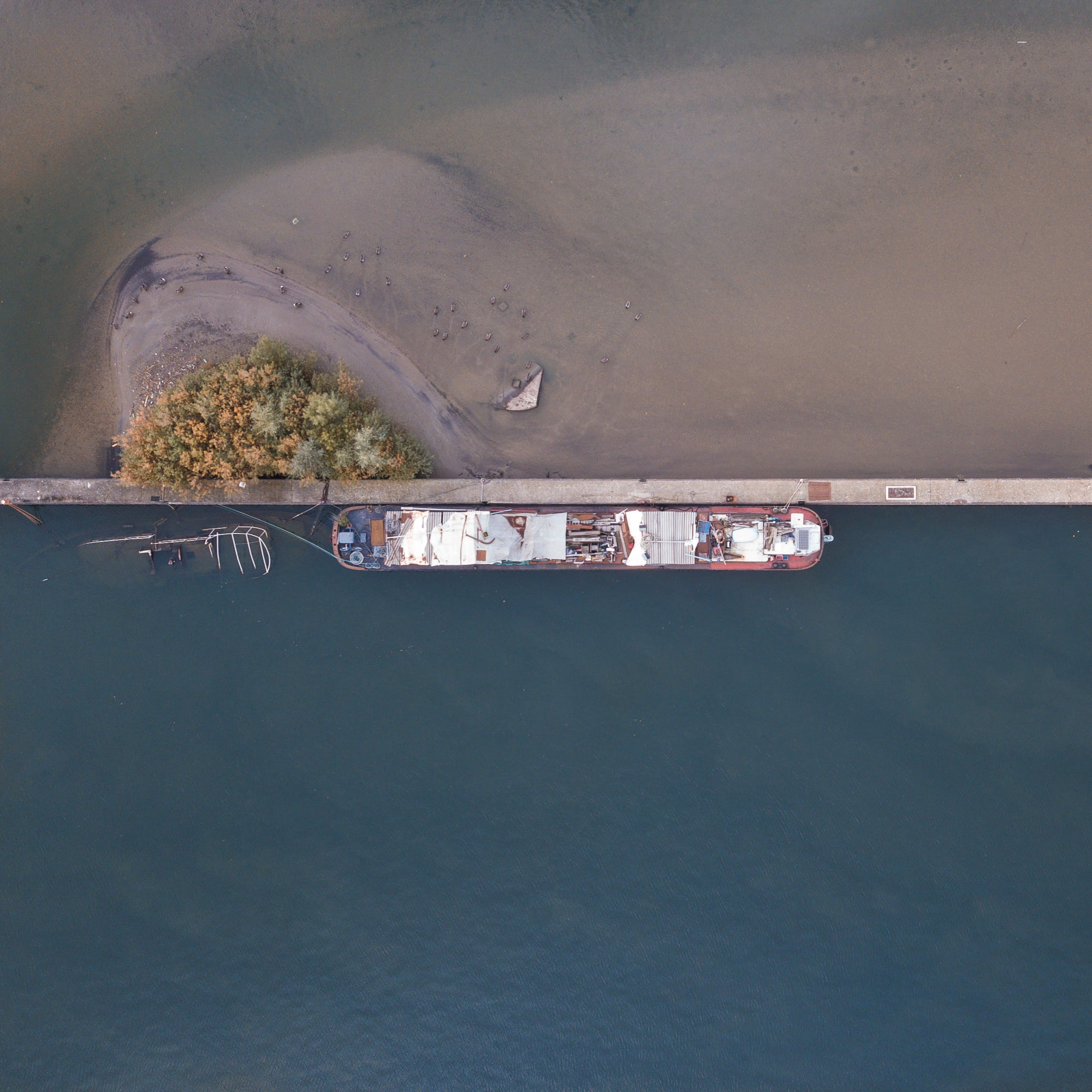 Top View of Passenger Ship Beside the Pier