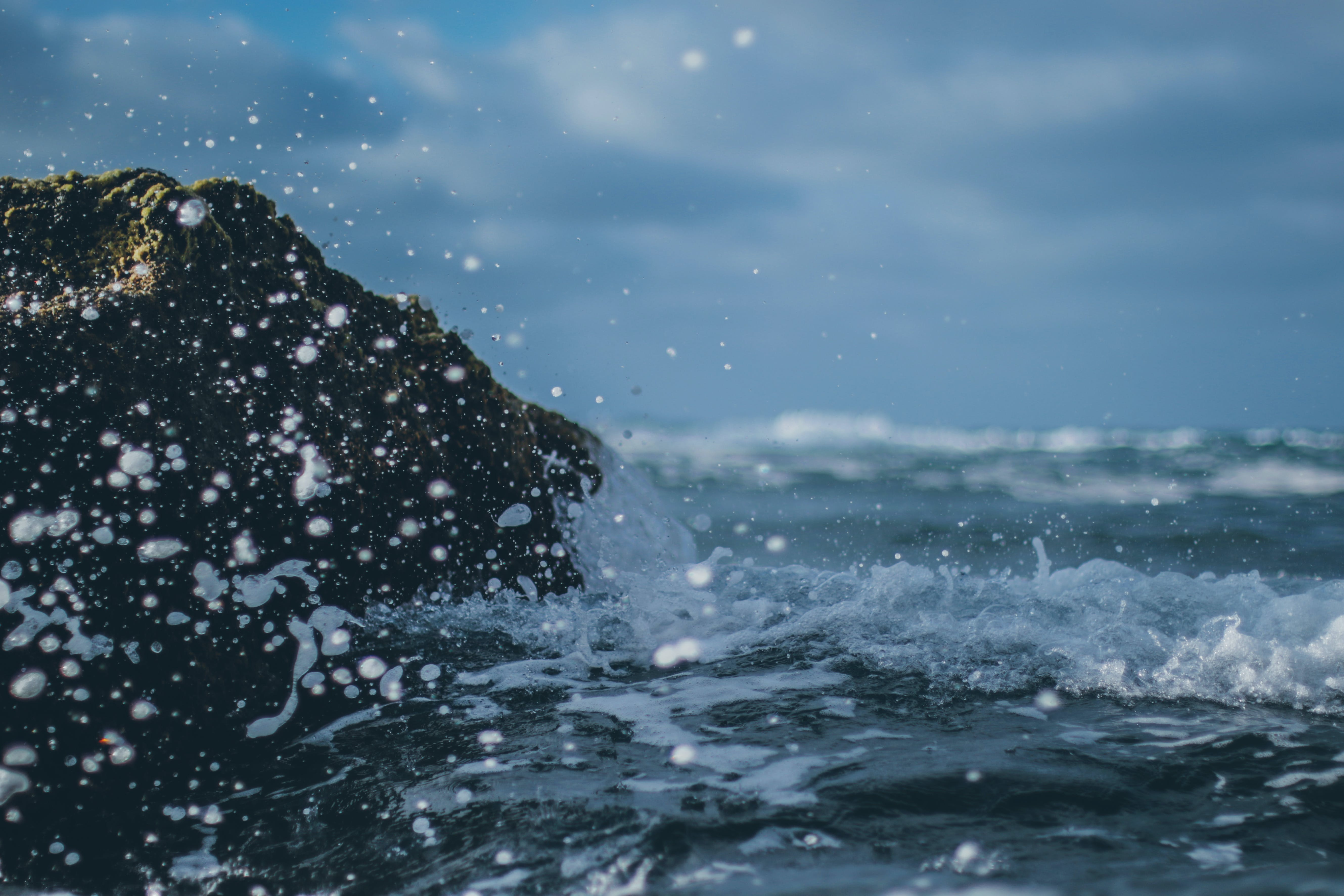 Sea Splashing on Rock