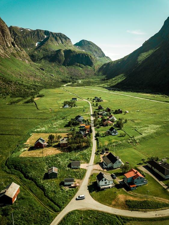 dji, dolina, domy