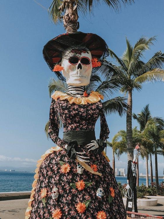 Photo of Skeleton Wearing Floral Dress