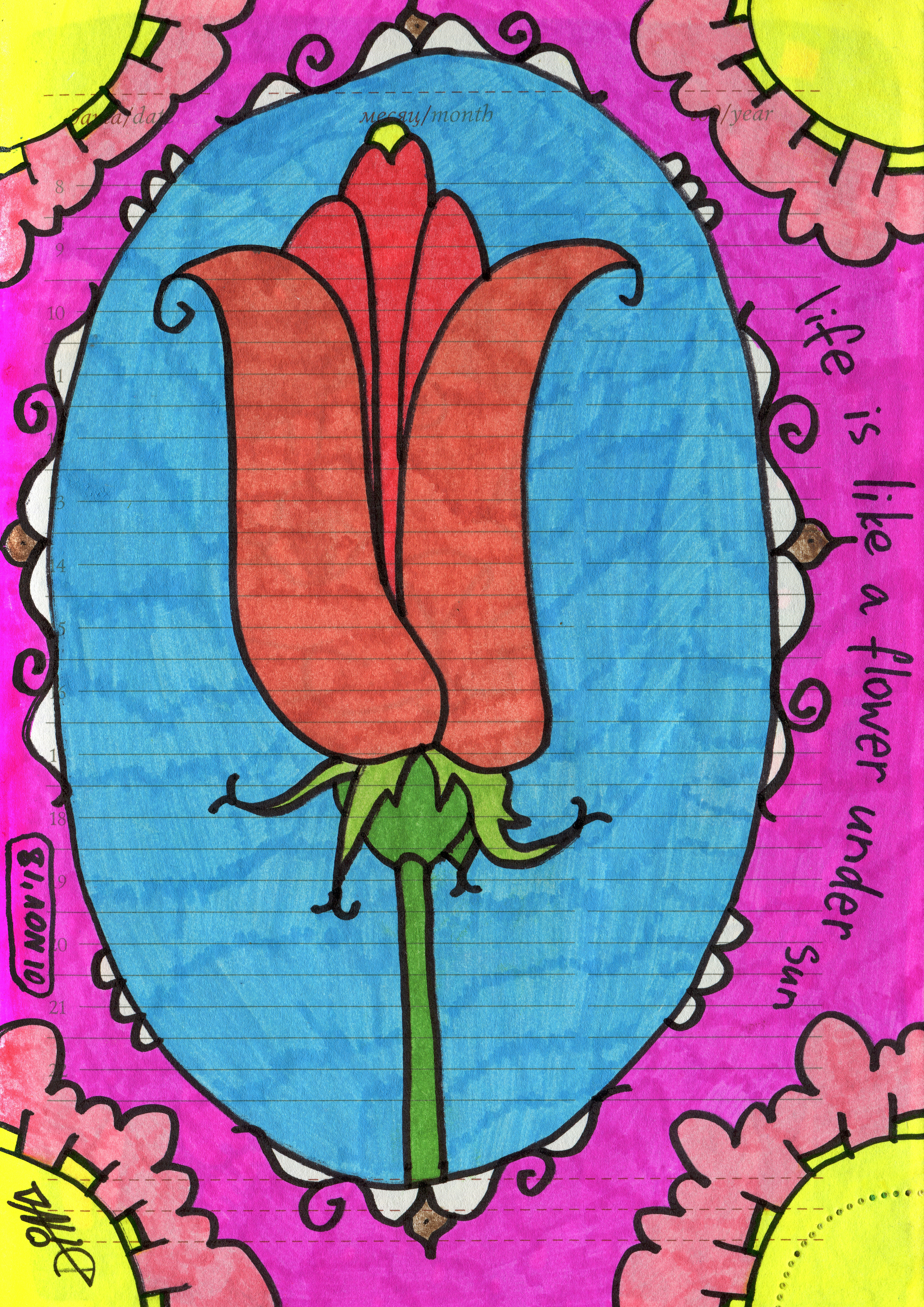 Free stock photo of abstract art, colored markers, flower art