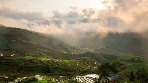 Бесплатное стоковое фото с восход, гора, закат, зерновые