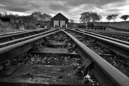Free stock photo of b&w, railtrack