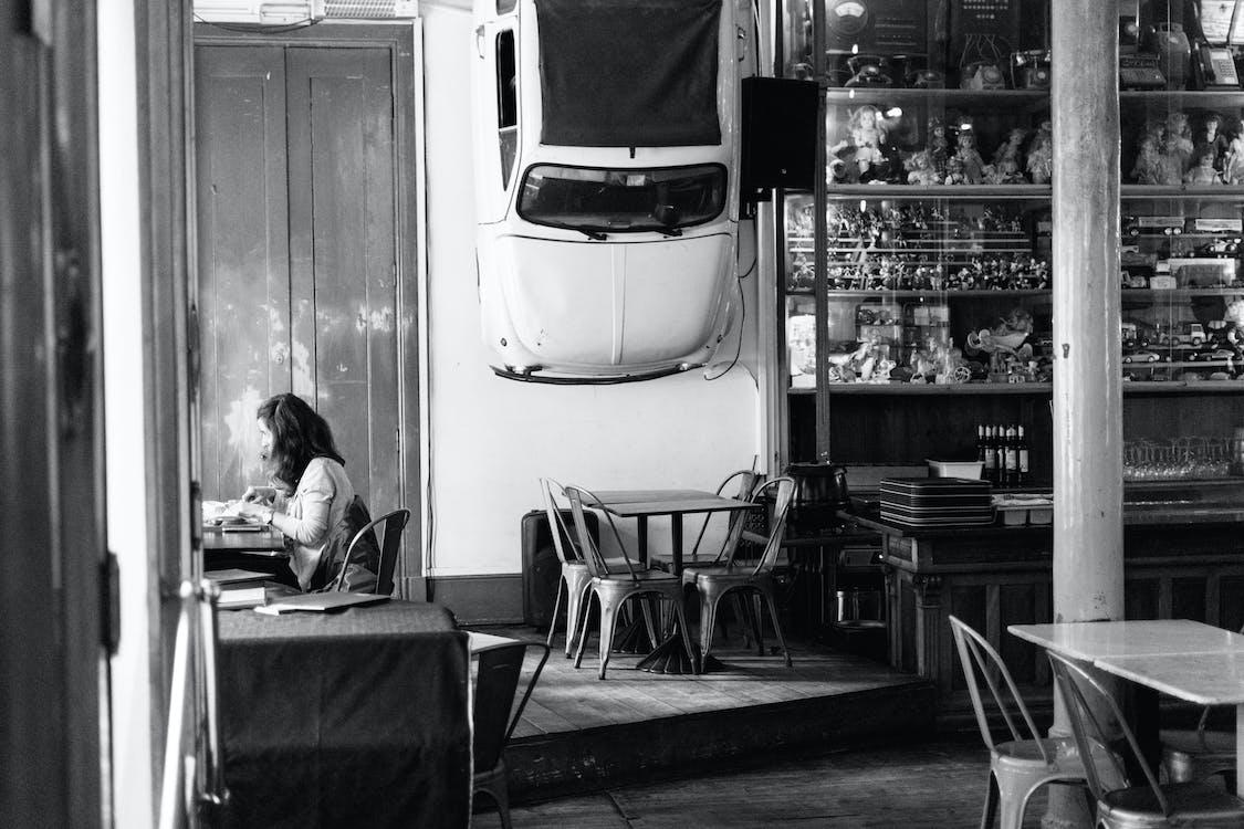 auto, černobílá, jednobarevný