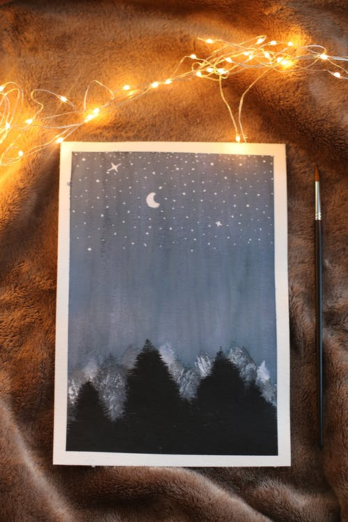 燈串, 燈光, 繪畫, 藝術 的 免费素材照片