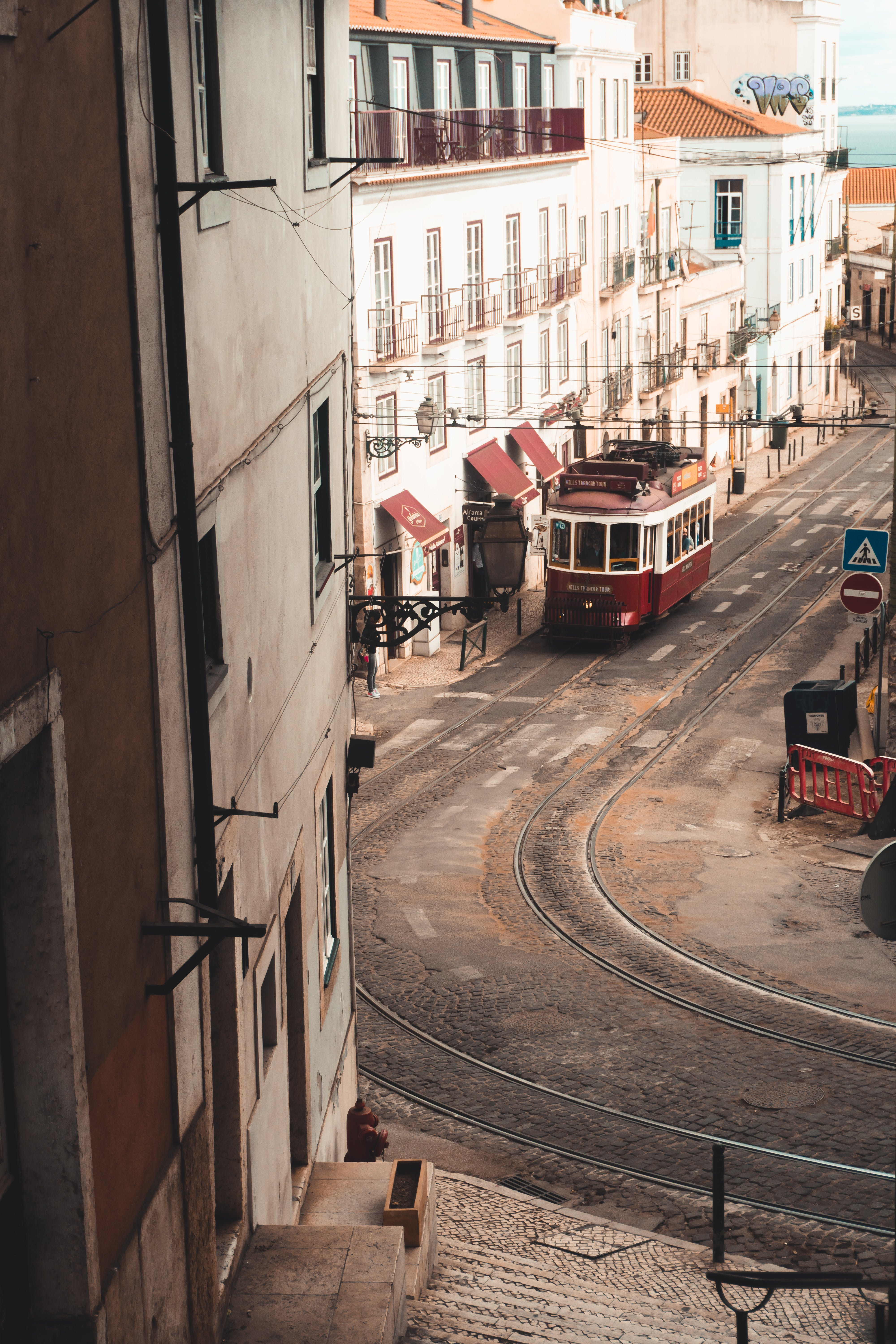 View of Tram on Street