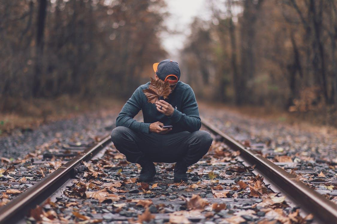 ahornblätter, baseball kappe, eisenbahn