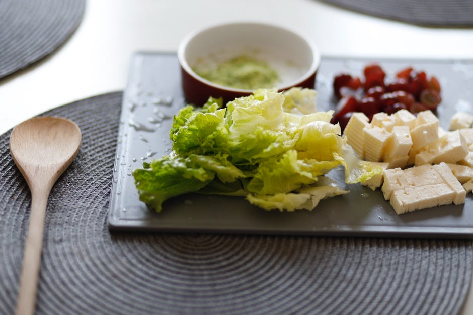 Vegetables and cheese on tray