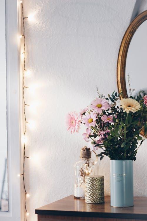 ấm cúng, bàn, cái bình hoa