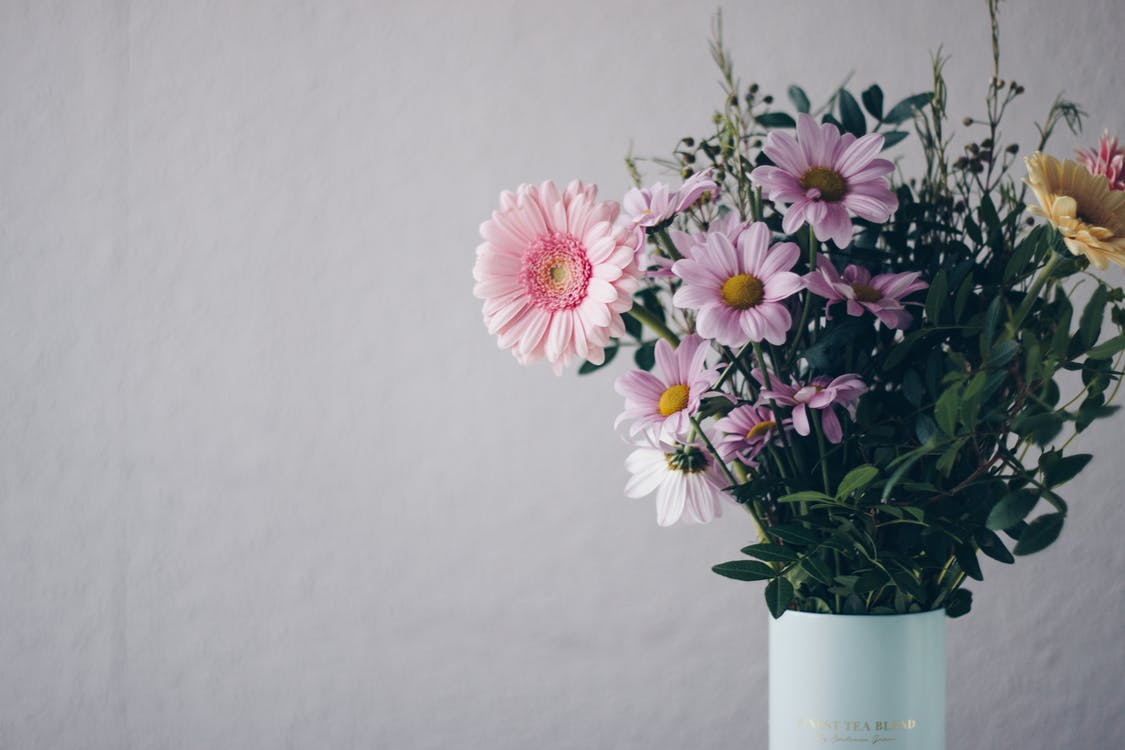 Pink Flowers in White Vase