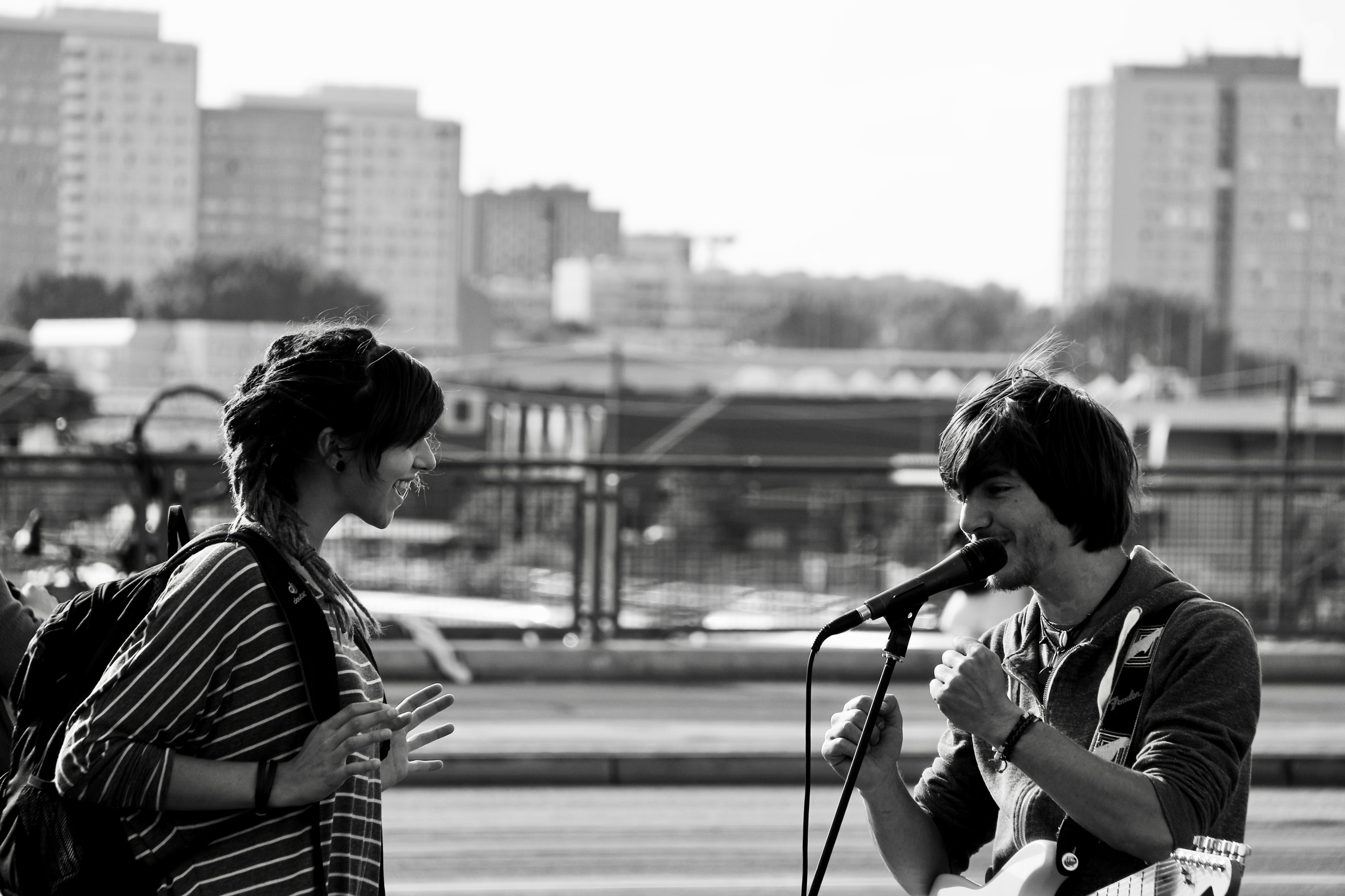 Free stock photo of boy, girl, guitar, live performance