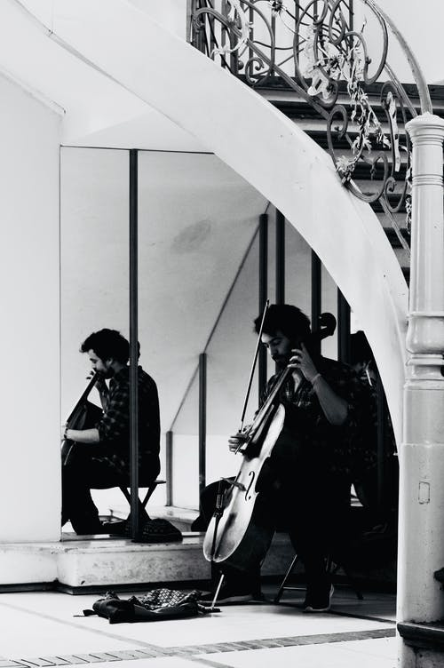 Gratis lagerfoto af cello, fyr, gråtoneskala, indendørs