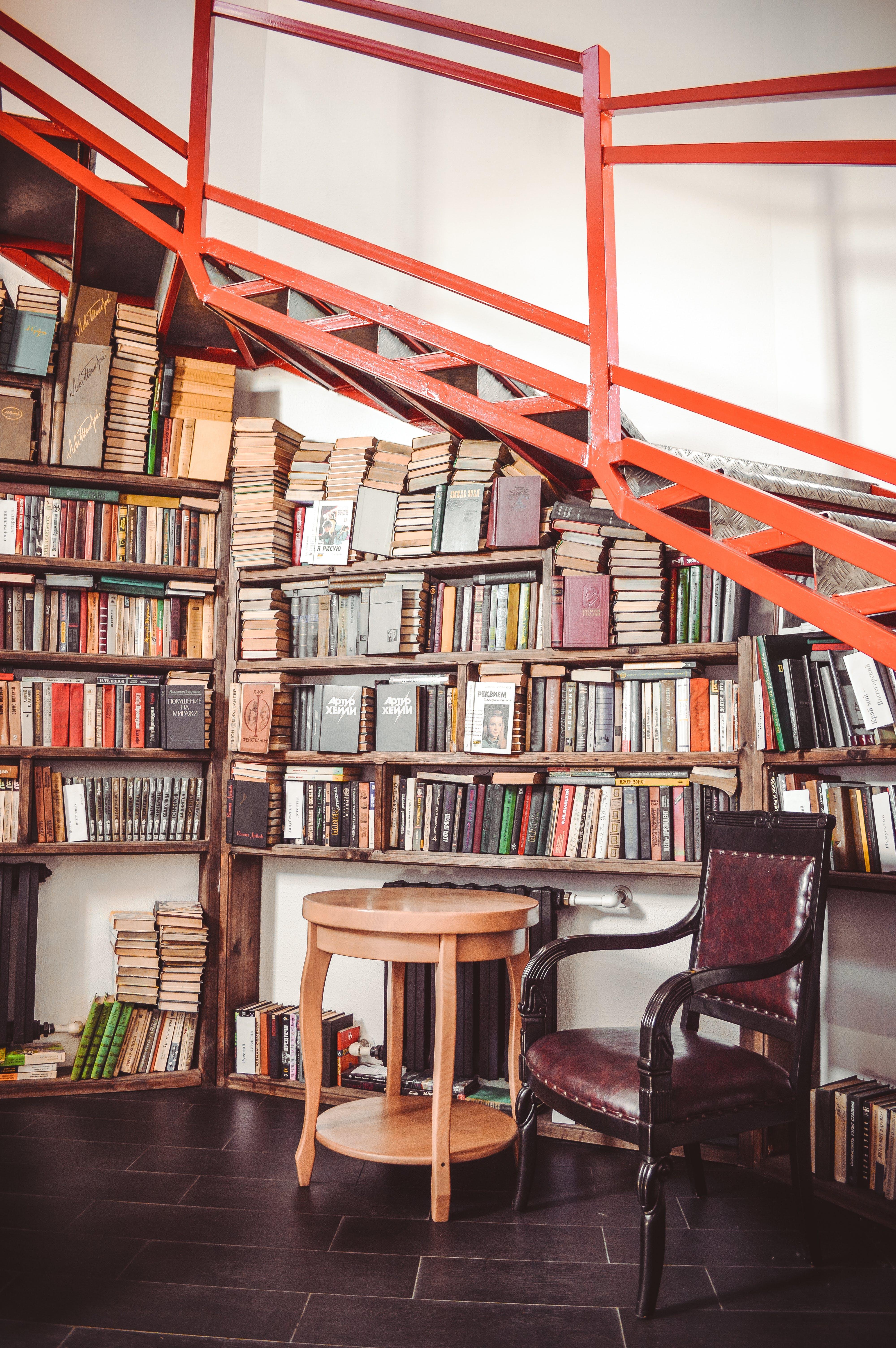 Book Lots on Wooden Shelf