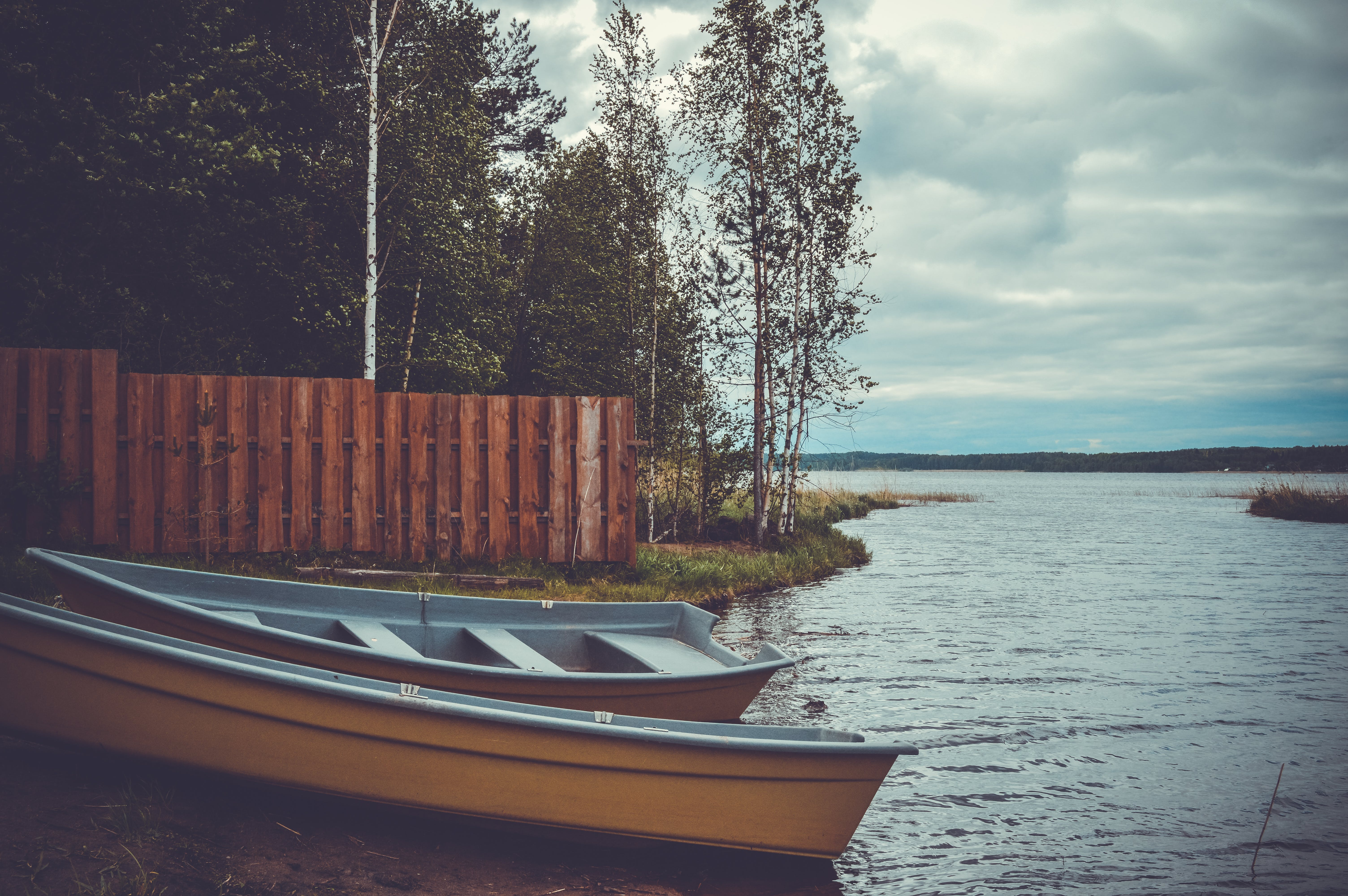 Two Blue and Brown Boats Near Trees