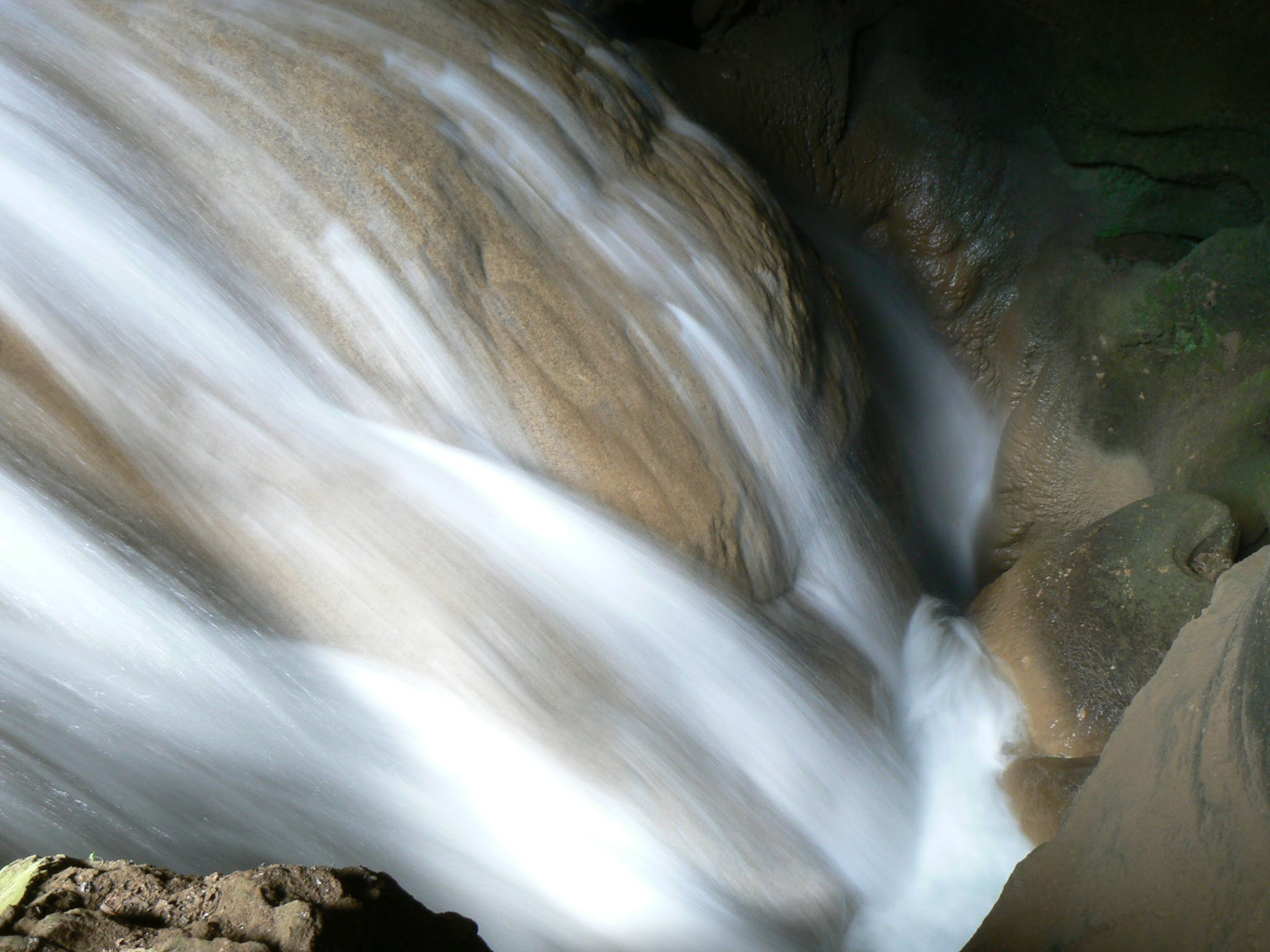 Falls With Brown Rocks