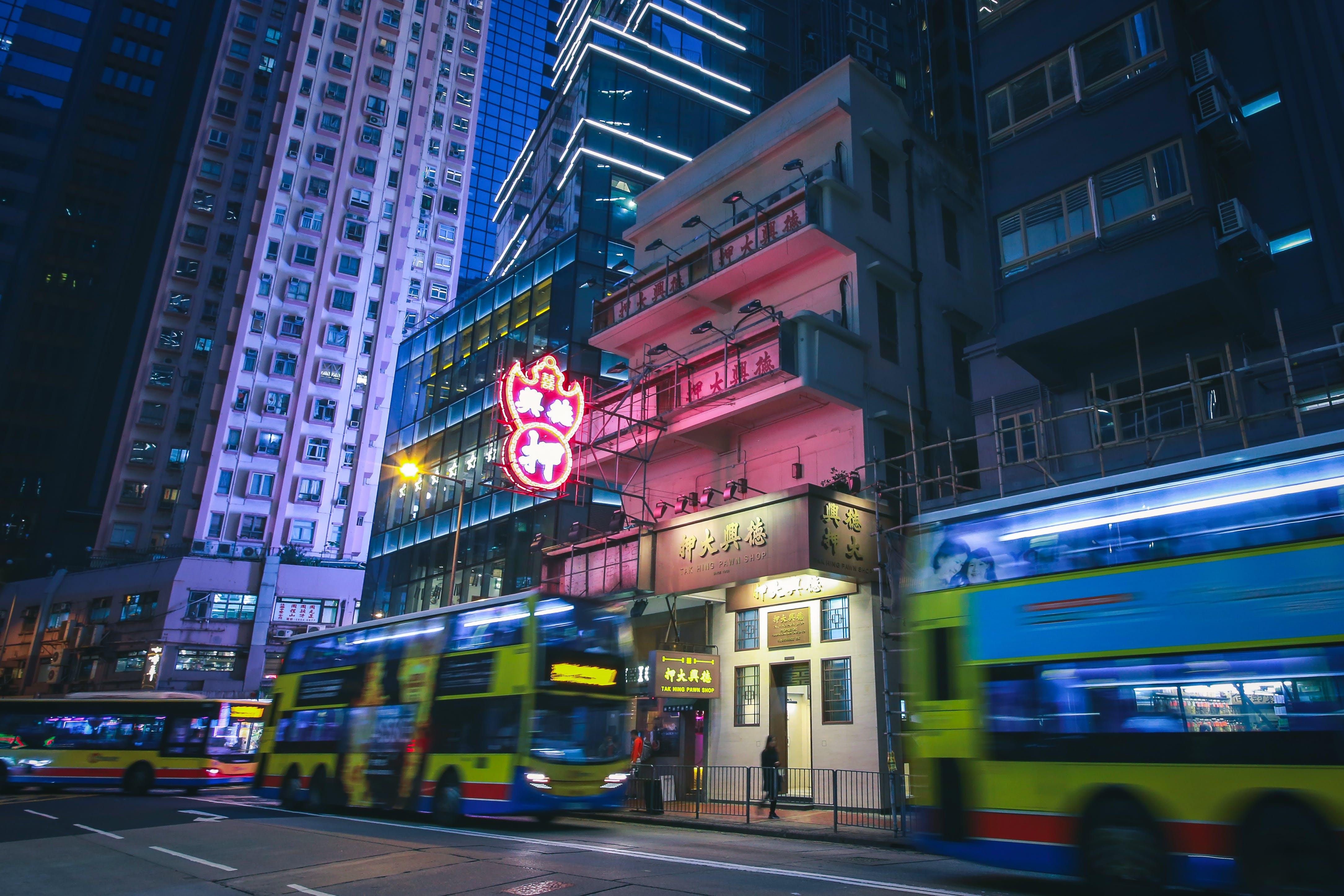 Buildings in Downtown Hong Kong at Night