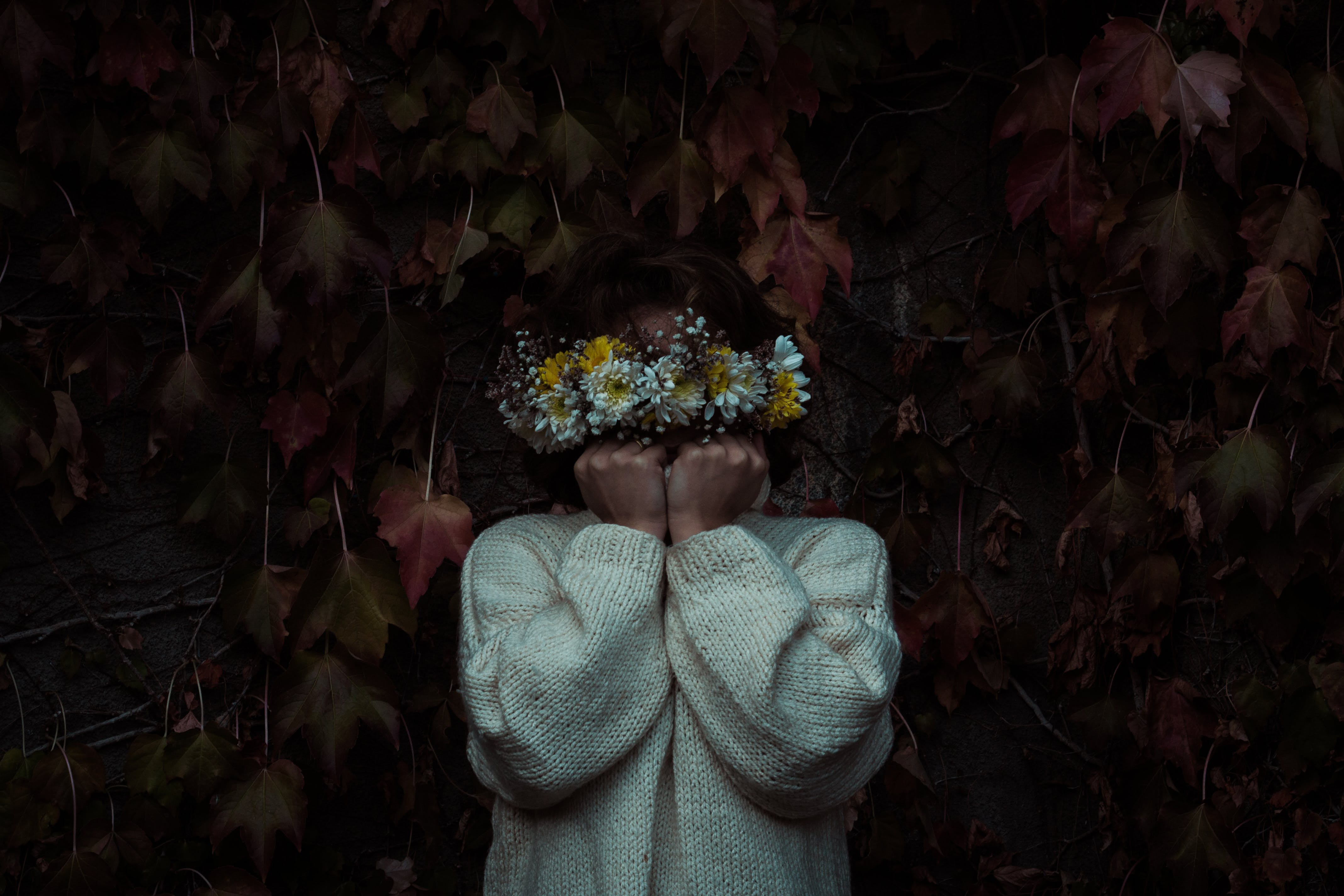 Woman Covered With Flowers