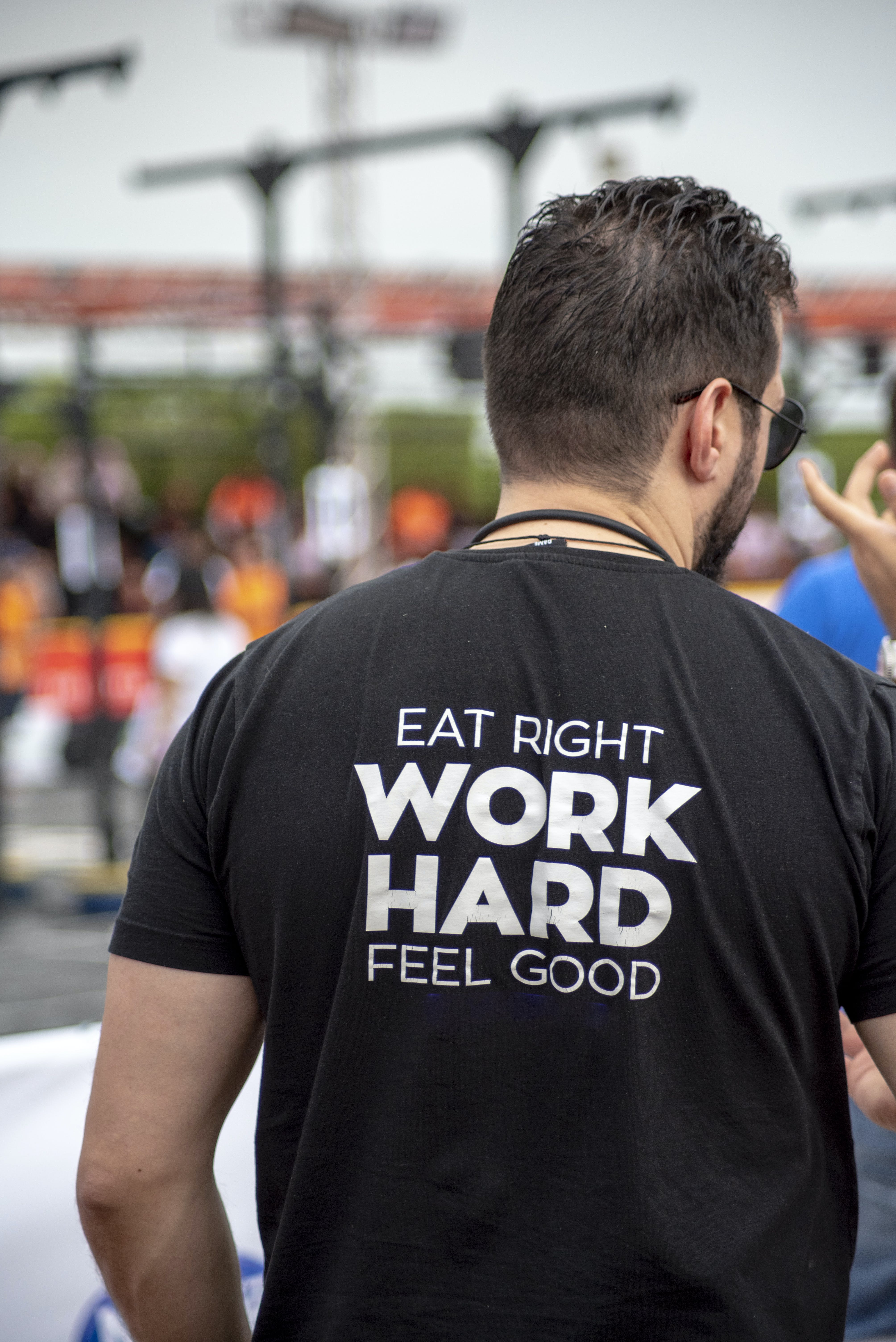 Person Wearing Eat Right Work Hard Feel Good-printed Shirt