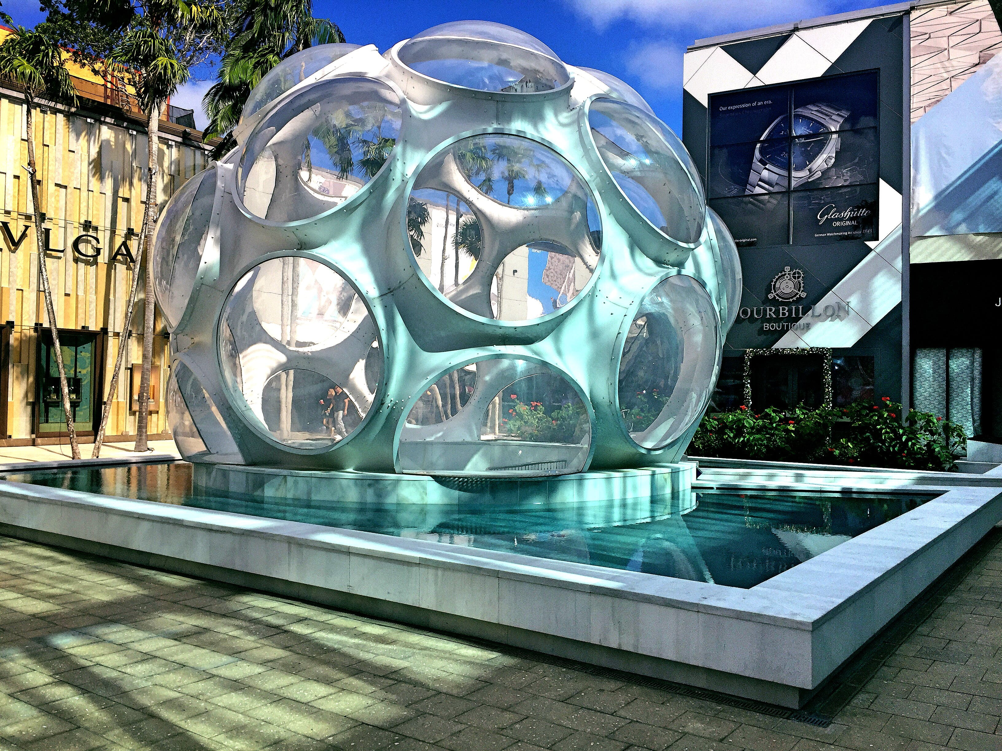 Grey Sphere With Round Holes Tourist Attraction