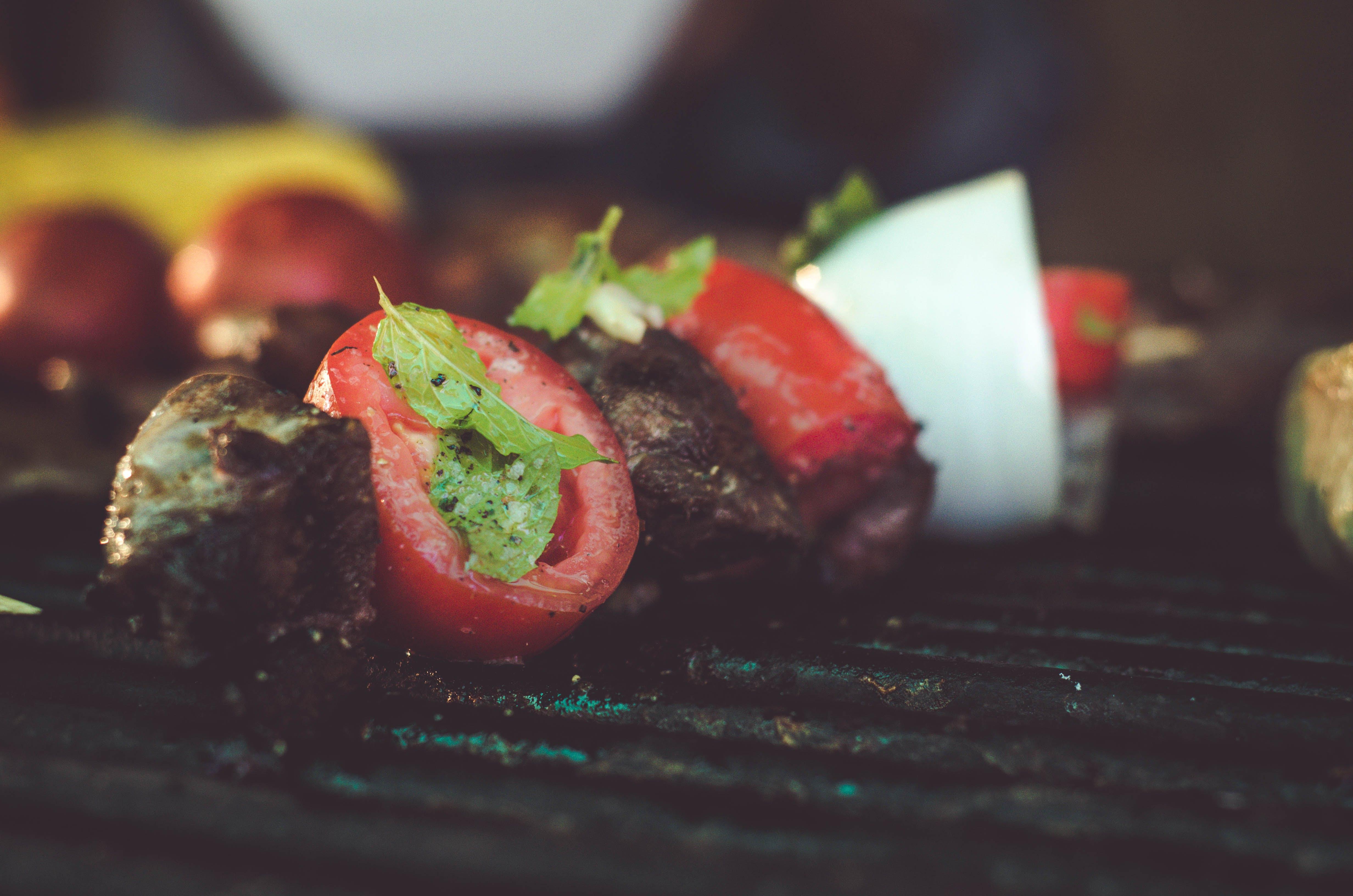 Kebab on Black Metal Grill
