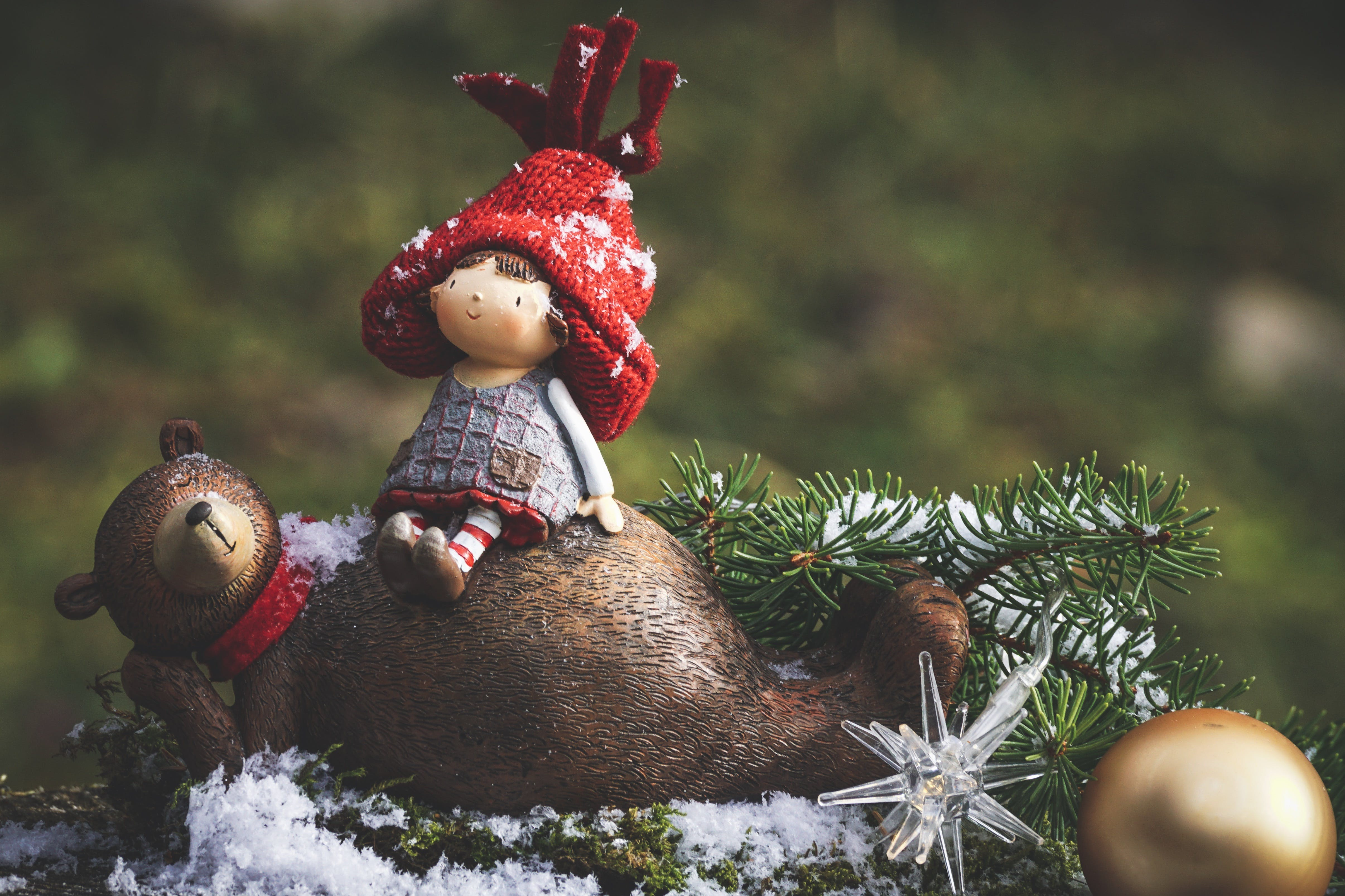 Bear And Girl Christmas Ornaments