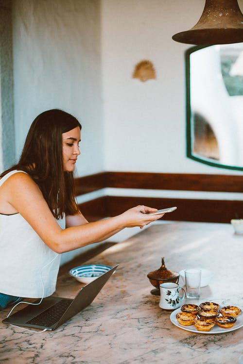 Woman Using Smartphone Taking a Picture of Food