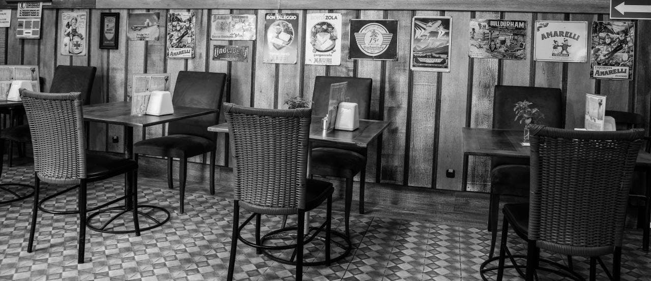 Grey Scale Photo of Restaurant