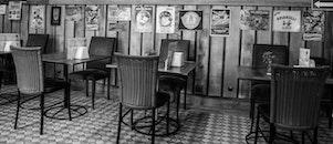 black-and-white, restaurant, vintage