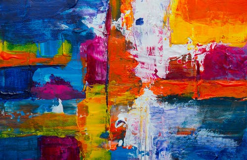 Orange, Pink, And Blue Abstract Painting