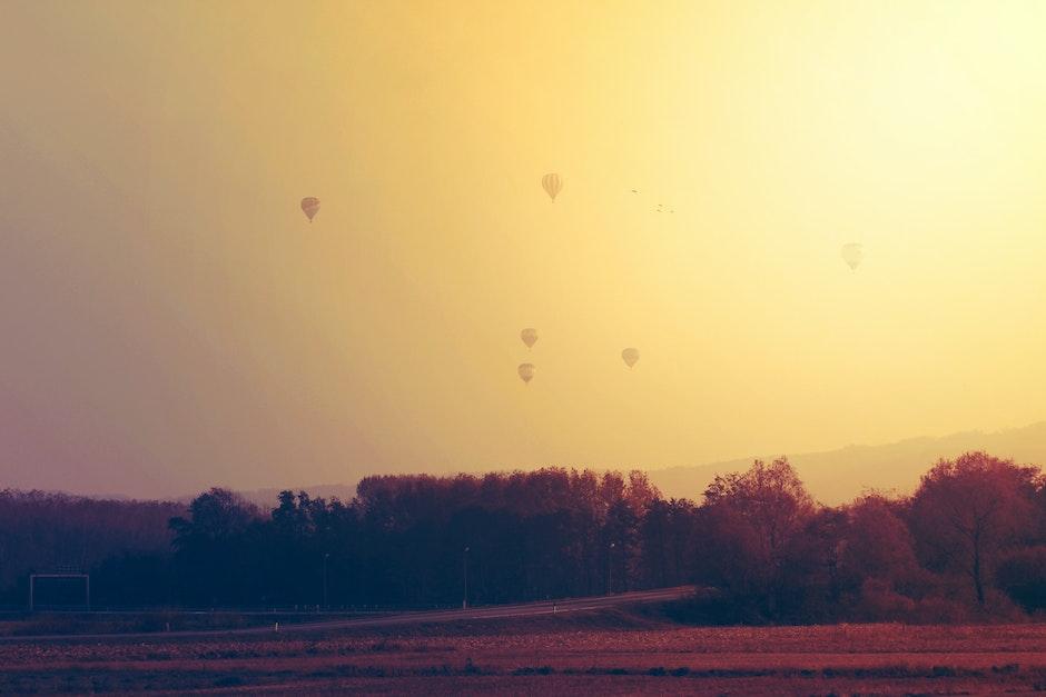 freedom, hot-air balloons, orange
