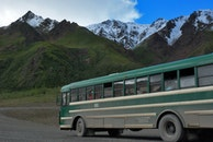 road, mountain, bus