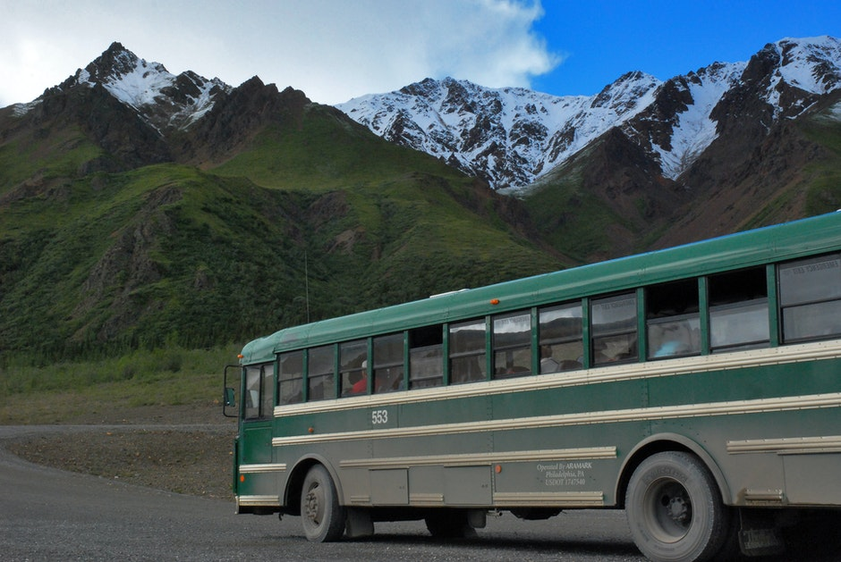 adventure, bus, mountain
