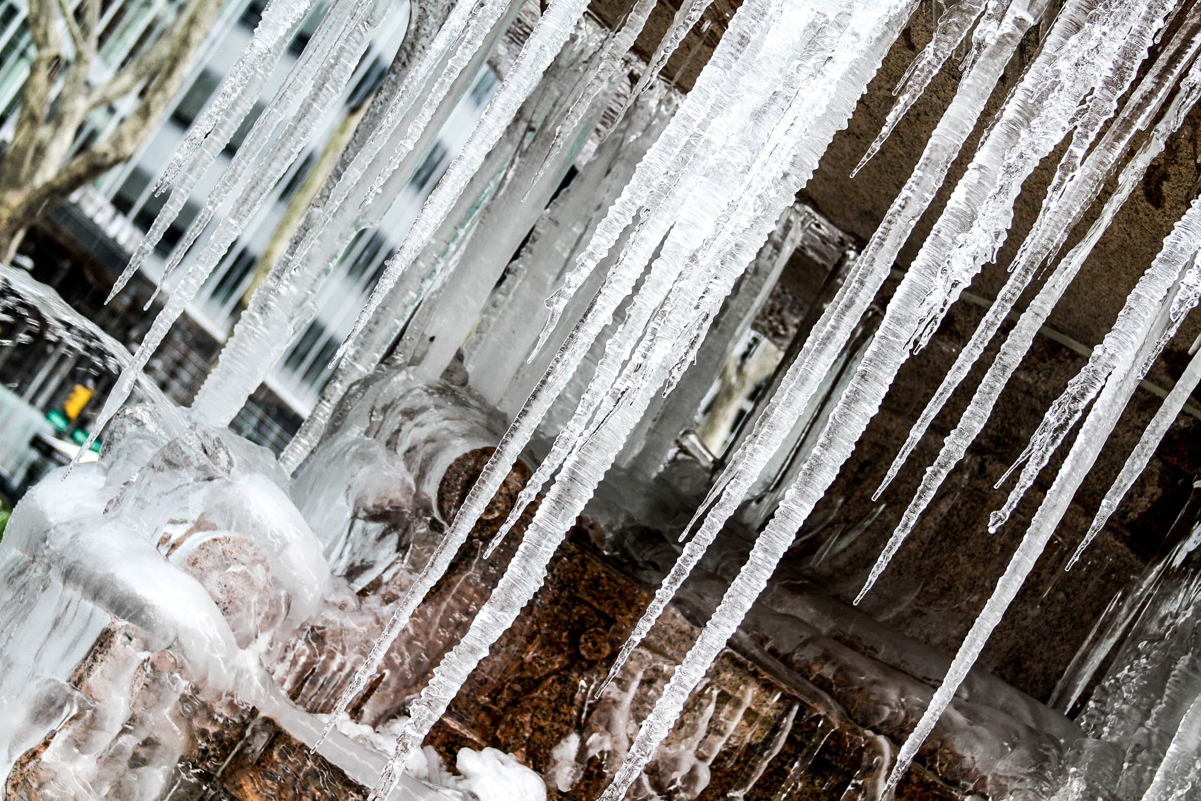 Icicles on Fountain