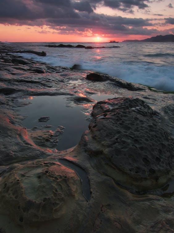 kameny, malebný, moře