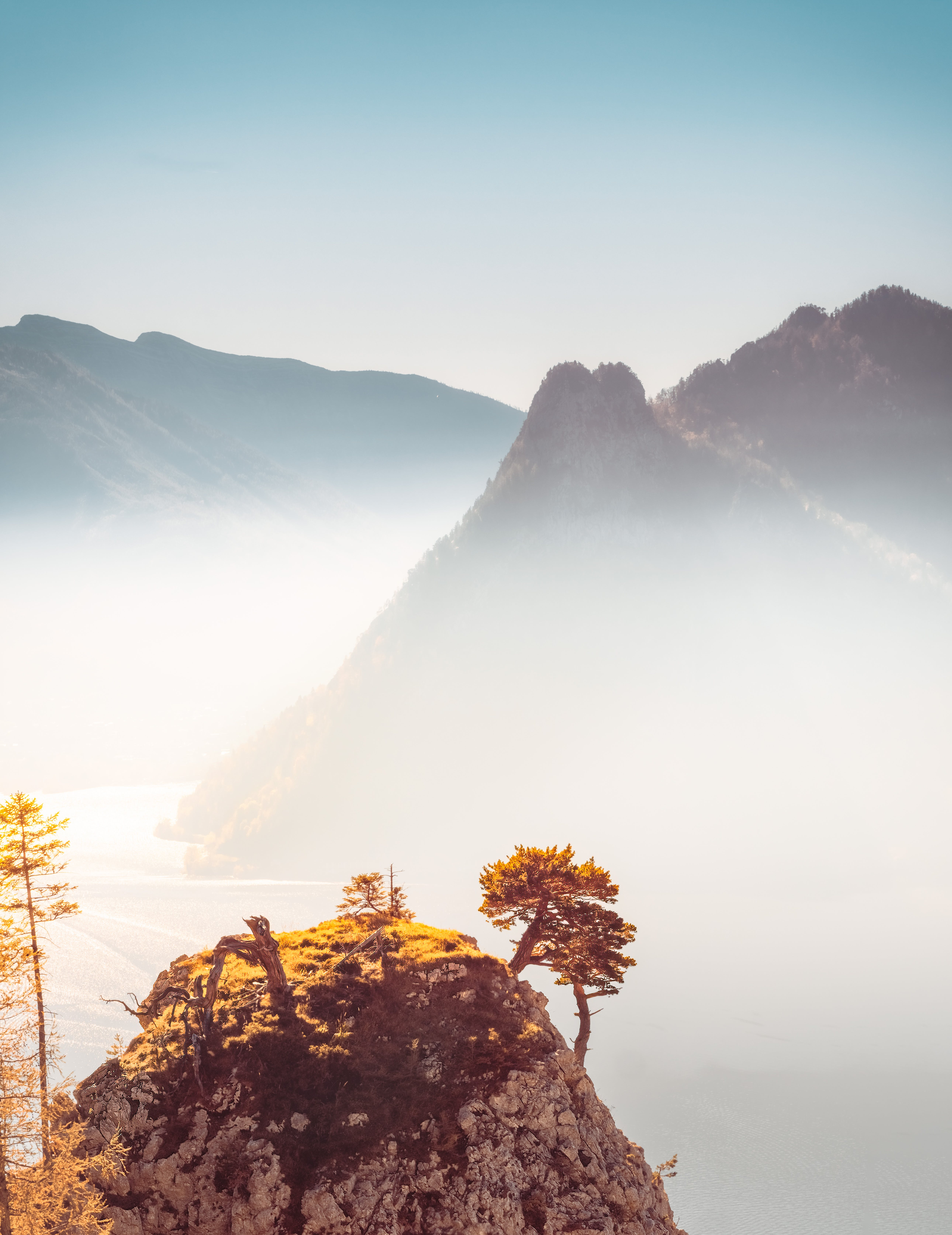 Mountain Covered by Fog