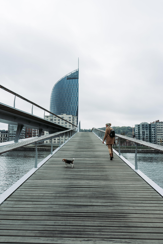 Woman Walking on Bridge With Tricolor Beagle