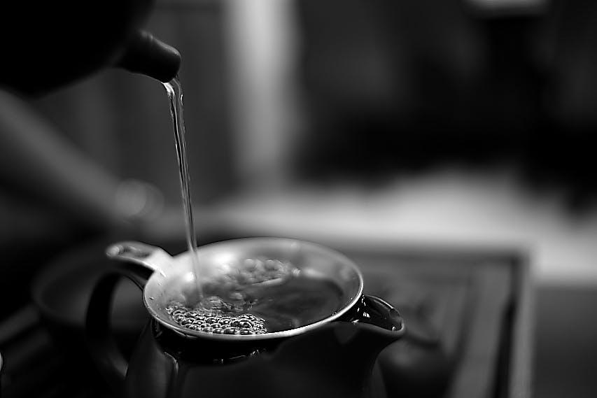 Gray Scale Photo Teapot and Tea Glass