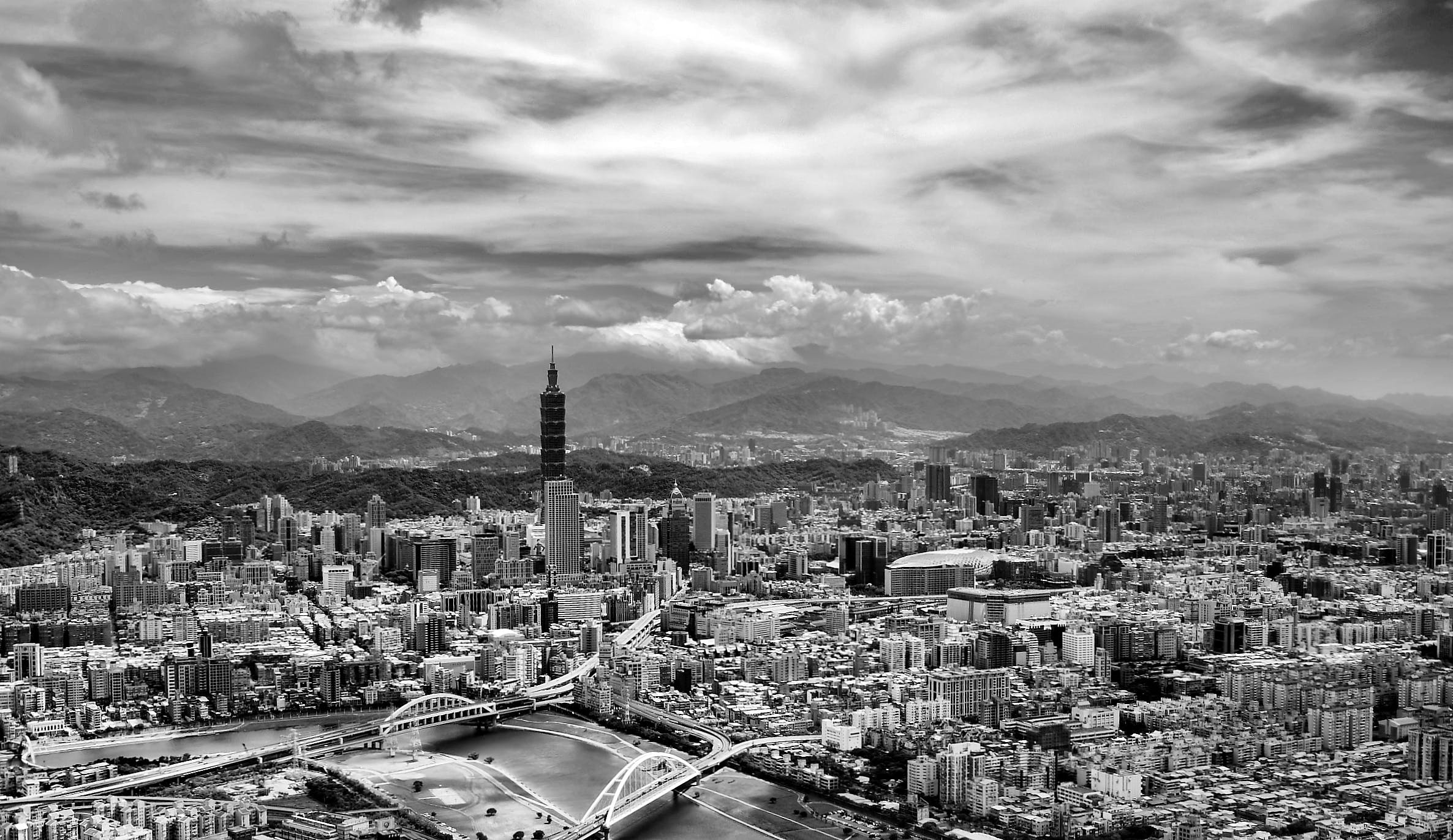 Black and White Aerial View of City