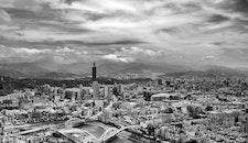 black-and-white, city, skyline