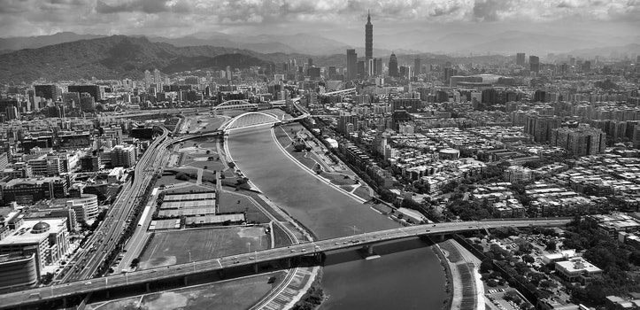 Gray Scale Aerial Photo of City