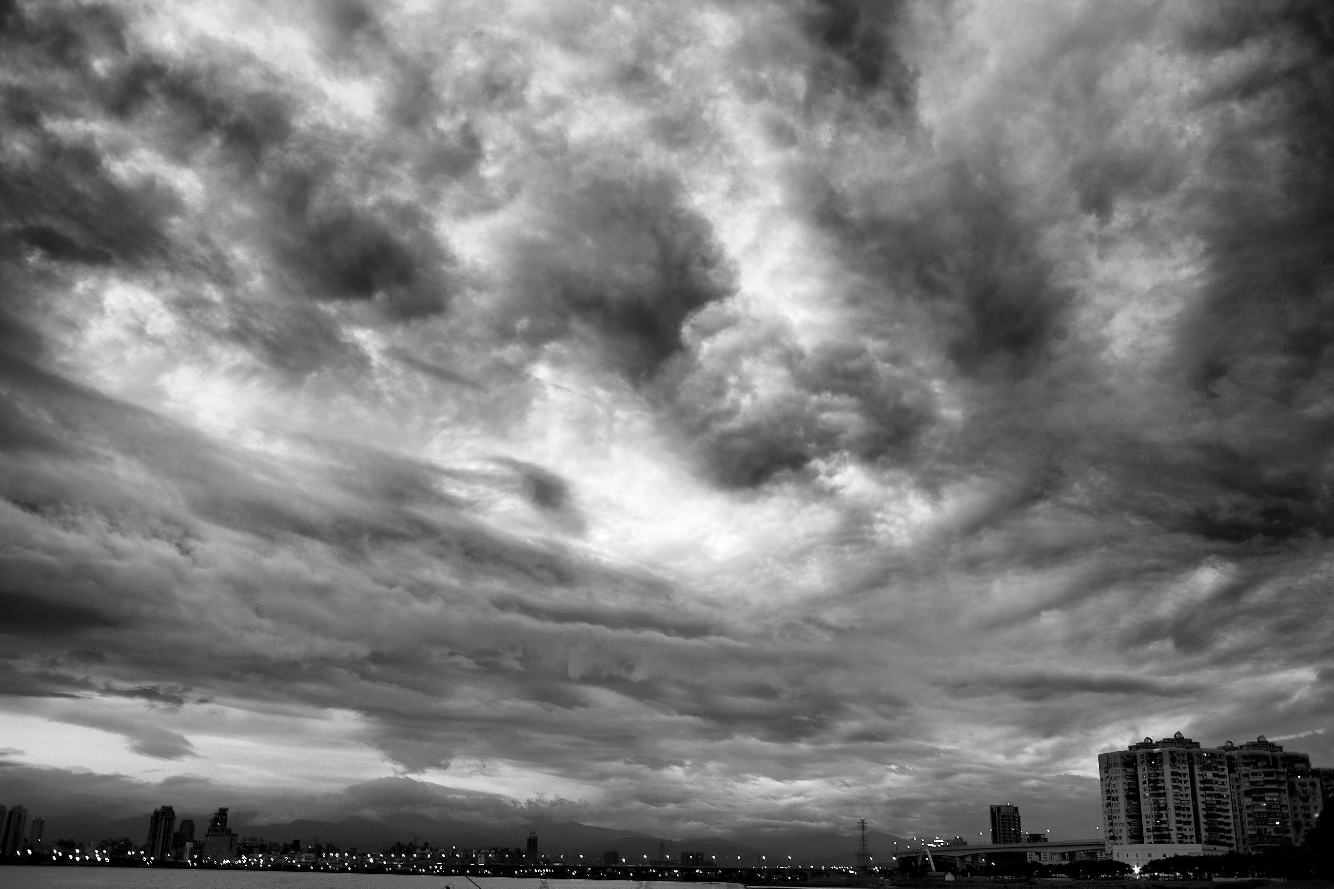 black-and-white, buildings, clouds