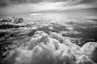 black-and-white, nature, sky